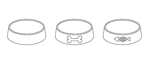 Пустые миски для корма для собак и кошек пластиковые или металлические тарелки в стиле контура