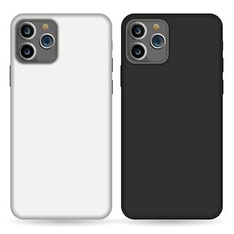 空の電話の黒と白のカバースマートフォンブランクケースモックアップデザインは、白で隔離。