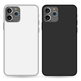 Empty phone black and white cover smartphone blank case mockup designs isolated on white.