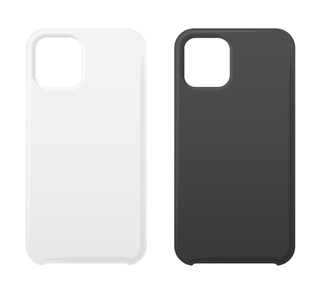 Empty phone black and white cover, smartphone blank case mockup s  on white.
