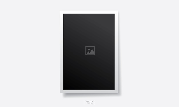 Empty photo frame background on white Premium Vector