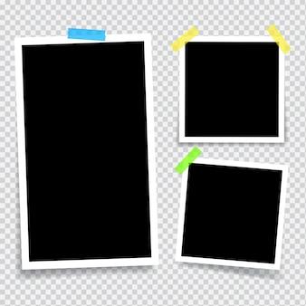 透明な粘着テープで接着された空のフォトフレーム垂直および水平の空白のフォトフレーム