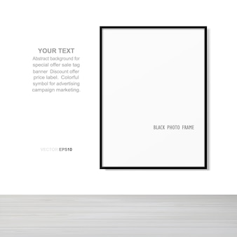 Empty photo frame or picture frame background in wooden room space background. vector illustration.