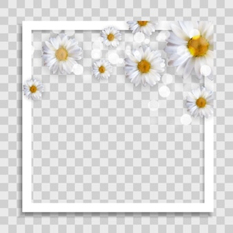 ソーシャルネットワークのメディア投稿のための春の花と空のフォトフレームテンプレート