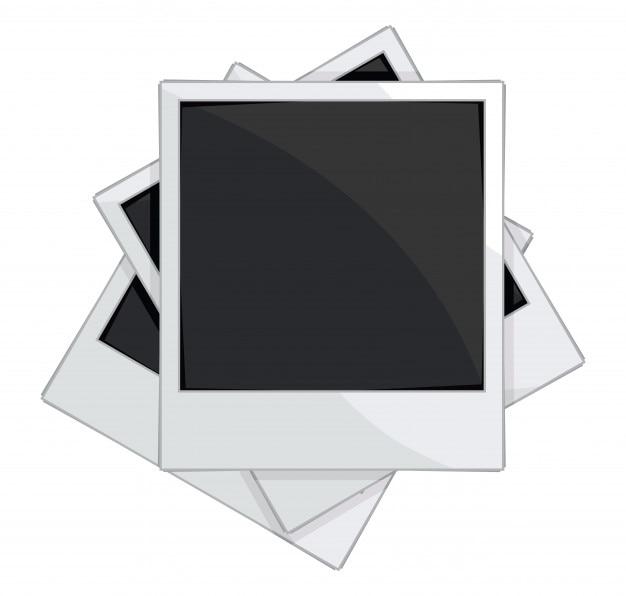 Empty photo frames on white background