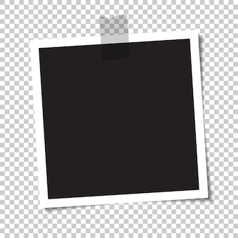 Пустое фото с тенью заклеивается скотчем. иллюстрация.