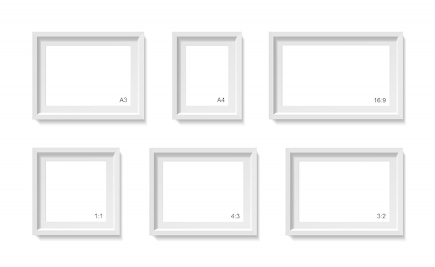 Empty picture frames mockup. photo container template. 3d illustration isolated on white wall. blank space for paper poster. objects set