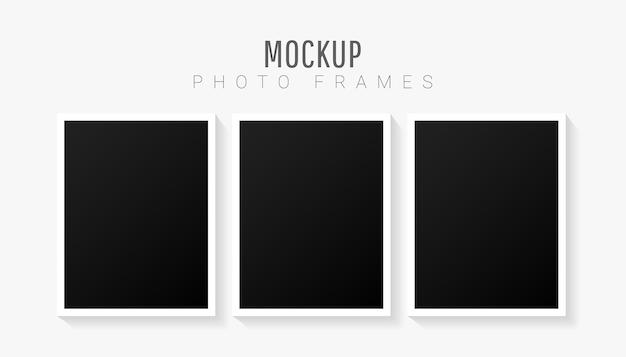 分離された黒いフレームで設定された空の画像テンプレート