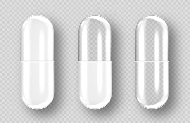Пустые капсулы таблетки, изолированные на прозрачном фоне. реалистичная фармацевтическая капсула