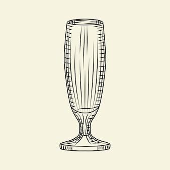 明るい背景に分離されたビールの空のピルスナーグラス。手描きのビアグラス。彫刻スタイル。メニュー、カード、ポスター、プリント、パッケージングに。スケッチスタイルのベクトル図