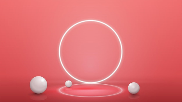 Empty pink abstract scene with realistic spheres and neon ring on background