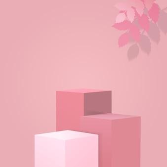 제품 표시를 위해 빈 분홍색 큐브. 핑크 리프로 장식 된 연단 무대.