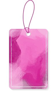 Empty pink label vector with strings isolated on white background