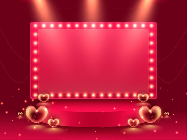 Empty pink marquee frame over stage or podium with hearts on red lights effect background