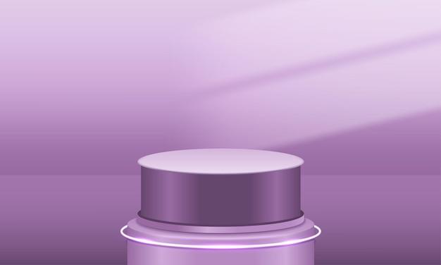 照らされた空のピンクの表彰台の壁アリーナ