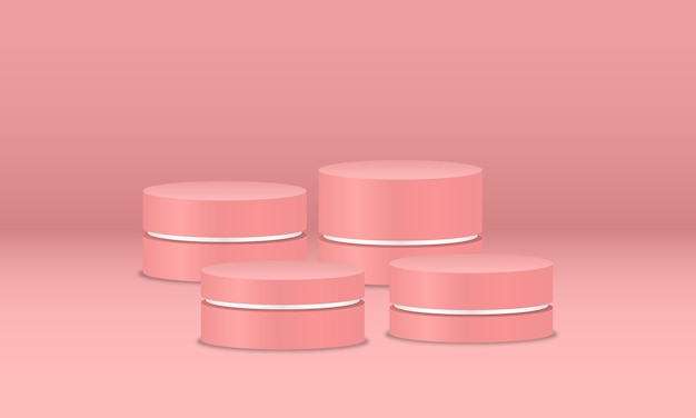 Empty pink podiums on pink background