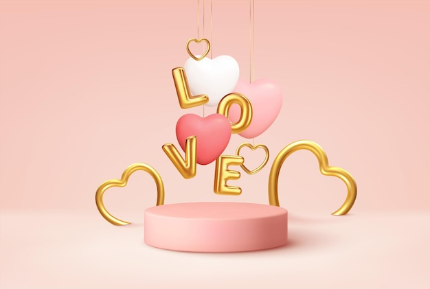 Empty pink product podium scene with pink and white heart shape balloons and gold word love balloons.