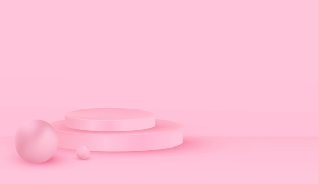 Empty pink room with pink podium background design