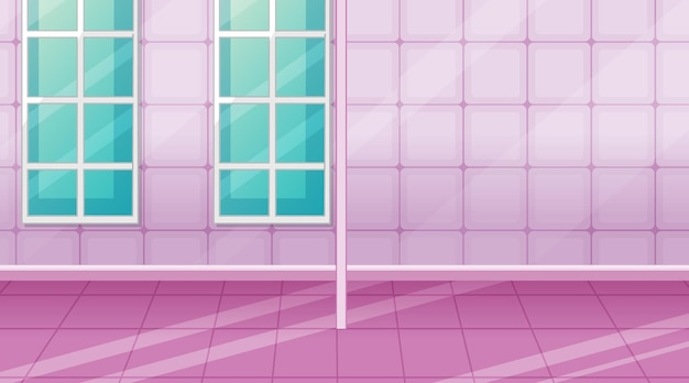 Empty pink room with pink tiles and room divider
