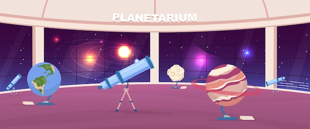 Empty planetarium flat color . interactive public astrology exhibition. planet exhibits. astronomy museum 2d cartoon interior with panoramic night sky installation on background