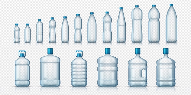 Empty plastic bottles. realistic transparent container for water or liquids, isolated 3d mockups for advertising. vector set illustrations containers for global beverage packaging on white background