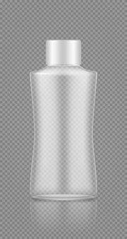 Empty plastic transparent bottle mockup for cosmetic shampoo, lotion, cream, shower gel