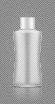 Макет пустой пластиковой прозрачной бутылки для косметического шампуня, лосьона, крема, геля для душа