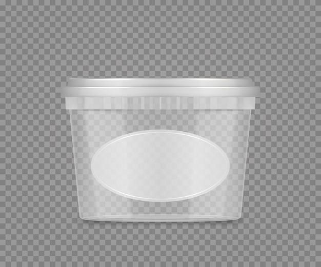 레이블이 있는 빈 플라스틱 투명 버킷 모형