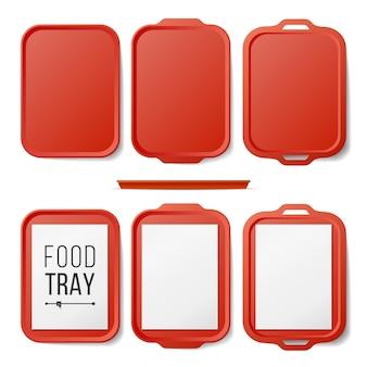 Empty plastic tray salver set