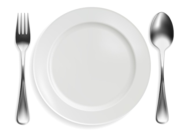 Empty plate, fork and spoon on white background. realistic design. vector illustration.