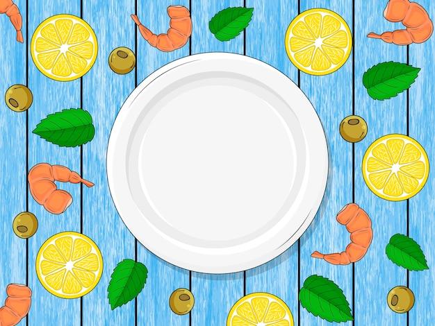 ウッドブルーの背景、レモン、唐辛子、エビの空のプレート。手で書いた。