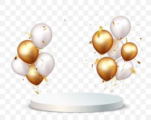 Empty podium background with gold confetti and balloon