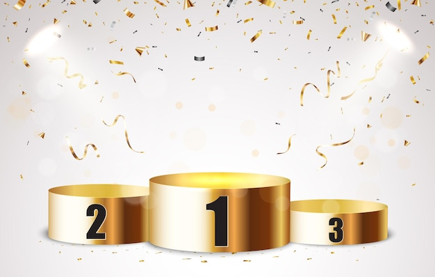 Empty podium background with gold confetti and light