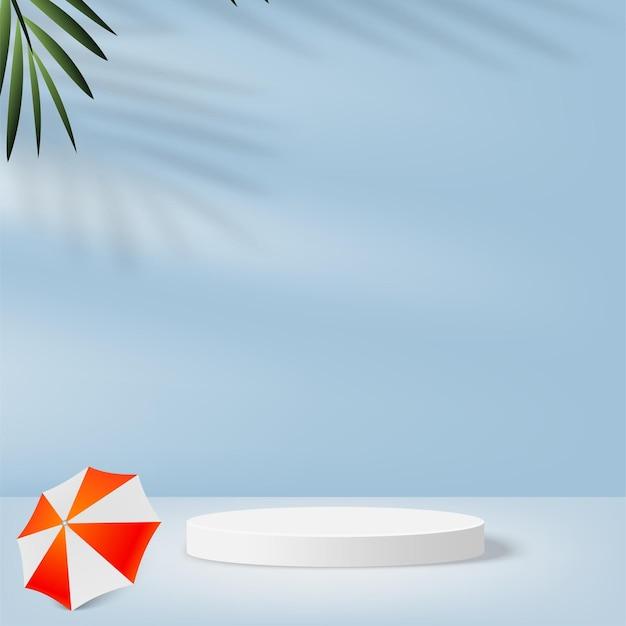 白い表彰台、パラソル、ヤシの枝を持つ空の表彰台の背景