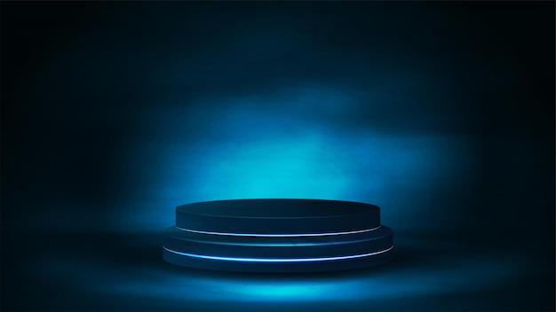 霧の中の空の表彰台、リアルなベクトルイラスト。青いデジタルシーン