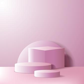 빈 연단 무대 또는 제품 디스플레이 쇼케이스. 핑크 색상의 기하학적 3d 상자 및 실린더