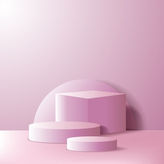 Empty podium stage or product display showcase. geometrical 3d box and cylinder with pink color