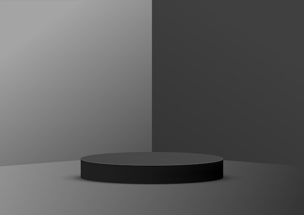 Empty podium studio black background for product display with copy space.