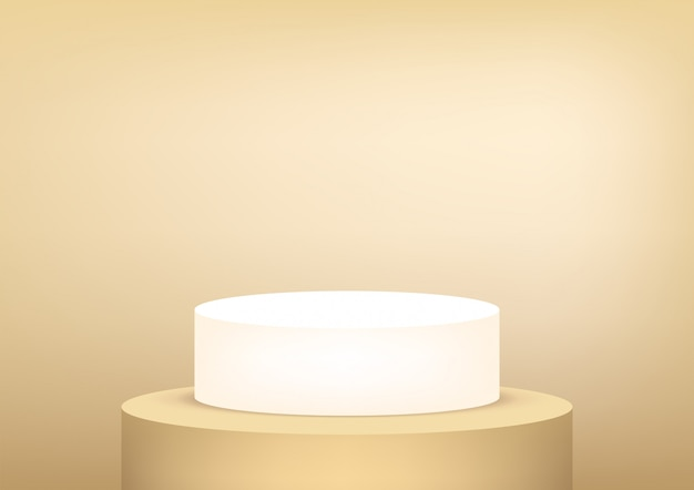 Empty podium studio gold for product display.