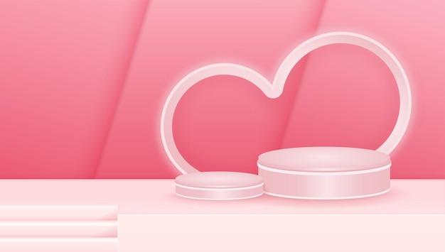제품 디스플레이 광고에 대 한 빈 연단 스튜디오 분홍색 배경