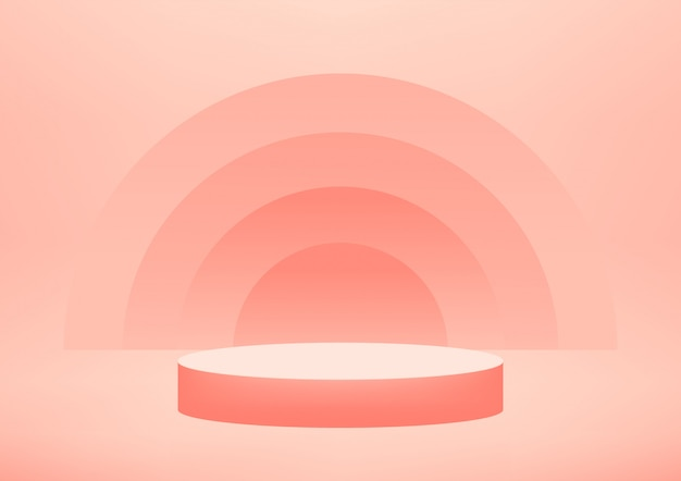 복사 공간 제품 디스플레이 빈 연단 스튜디오 분홍색 배경.