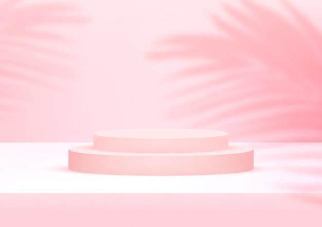 Empty podium studio pink background with palm leaves for product display.
