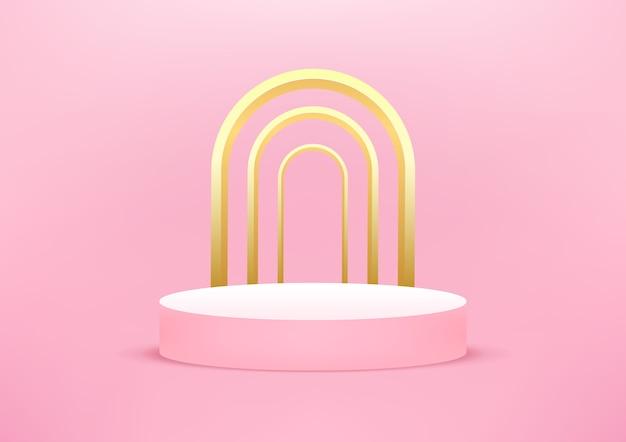 Пустой подиум студия розовый фон