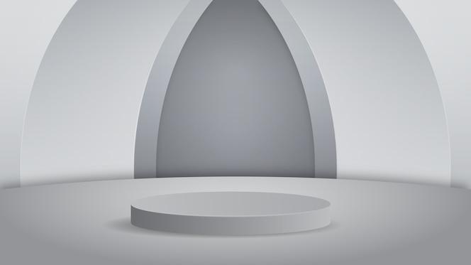 пустой подиум студии серебряный фон для отображения продукта с копией пространства