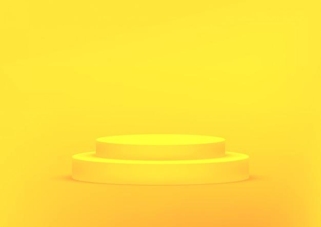 Empty podium studio yellow background