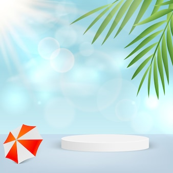 Empty podium in tropical background