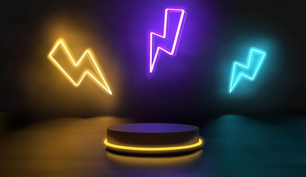 Empty podium with cute colorful neon thunderbolt sign
