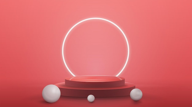 Empty podium with realistic spheres and neon ring on background with pink abstract scene with neon white ring