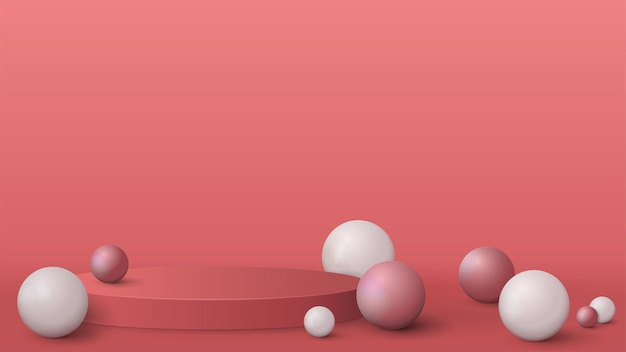 Empty podium with realistic spheres, realistic render with pink abstract scene
