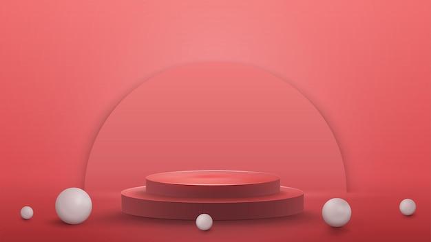 Пустой подиум с реалистичными белыми шарами на полу, реалистичная иллюстрация. 3d визуализация иллюстрации с розовой абстрактной сценой